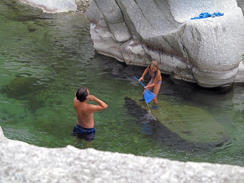 Epuisette en rivière