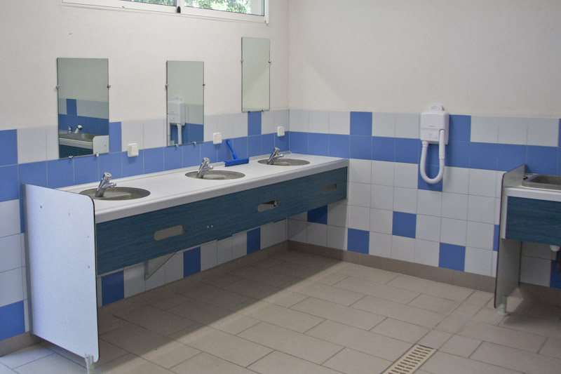 Interior of one of the campsite sanitary facilities