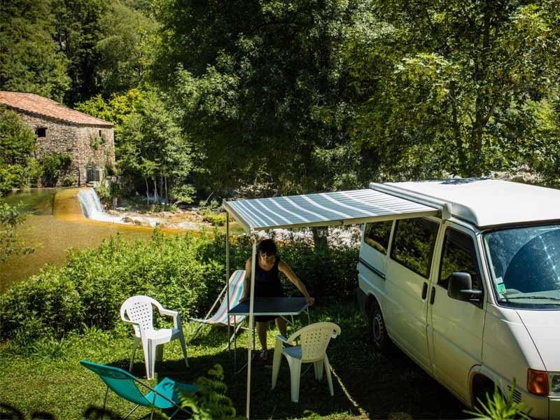 A campsite pitch near the river