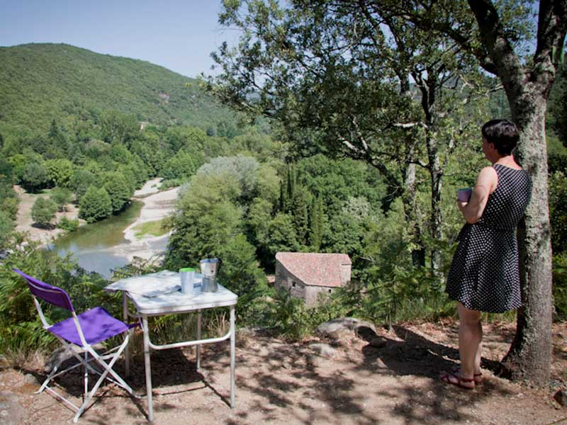 Pitch on the Hill with views of the river and the Cévennes