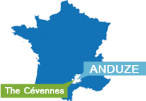 Map of France in Anduze and Cévennes