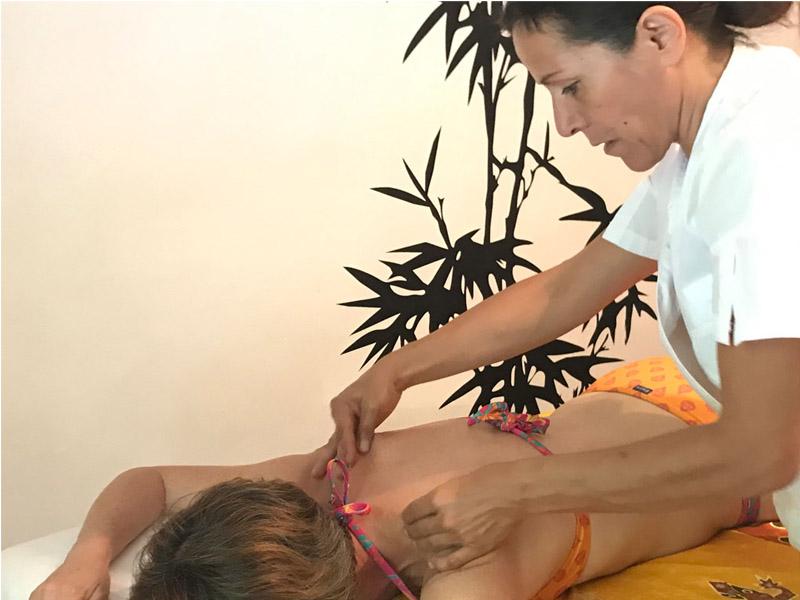Back massage by a professional